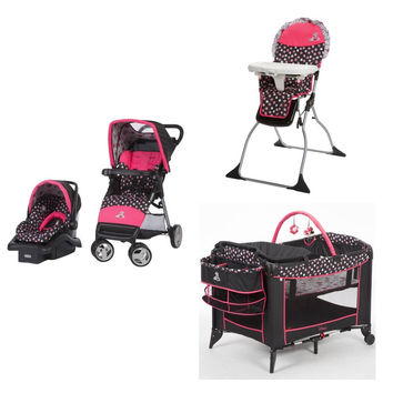 Disney Minnie Mouse Baby Gear Bundle,Stroller Travel System,Play Yard,High Chair