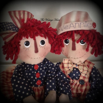 Made to Order ~~~ Primitive Raggedy Ann and Andy Rag Dolls Americana Patriotic Handmade Handpainted Folk Art HAFAIR OFG Statteam