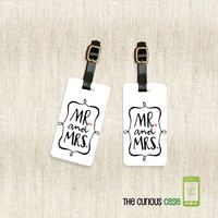 Mr. and Mrs. Metal Luggage Tag Set Personalized Printed with Address Message or Quote Printed FULL Metal Tags