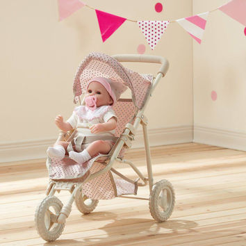 Olivia's Little World - Polka Dots Princess Baby Doll Jogging Stroller - Pink & Grey
