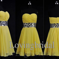 2014 Short Sweetheart Chiffon Prom Dress  Bridesmaid Dress Party Dress Simple Yellow Homecoming Dress Formal Prom Dress Custom wedding dress