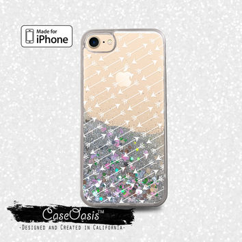 Arrow Pattern White Boho Cute Tumblr Liquid Glitter Sparkle Case for iPhone 6 and 6s iPhone 6 Plus and 6s Plus iPhone 7 and iPhone 7 Plus