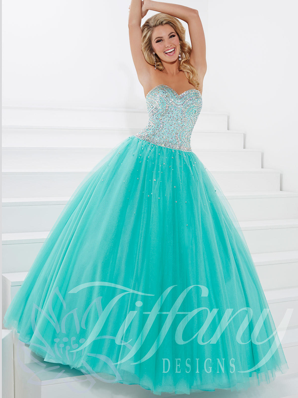 Sweetheart beaded tulle ball gown prom from dress prom tiffany