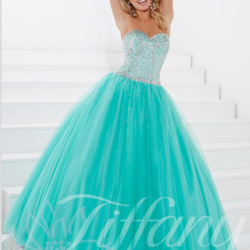 Sweetheart Beaded Tulle Ball Gown Prom Dress Tiffany Designs 61137
