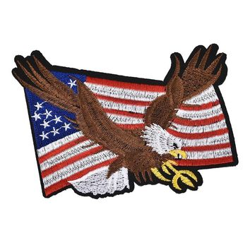 1pc Flag Eagle Iron On Embroidery Patches Cloth Sticker Badge For Clothing Bags Pants Jacket Patchwork Decoration