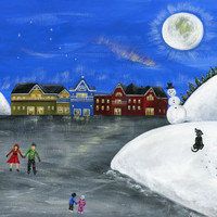 Hilly Hope 16x20 Winter Christmas Original Folk Art Painting w/ Village Couple Skating