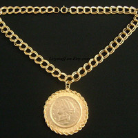 Gorgeous CAROLINE Vintage Caroline's Jewelry Gold Plated Liberty Head Face Faux Coin Medallion Center Pendant Double Chain Necklace Classic