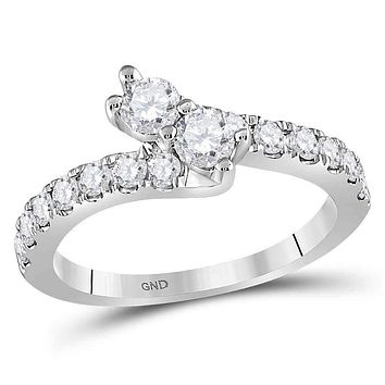 14kt White Gold Women's Round Diamond 2-stone Bypass Bridal Wedding Engagement Ring 1.00 Cttw - FREE Shipping (US/CAN)