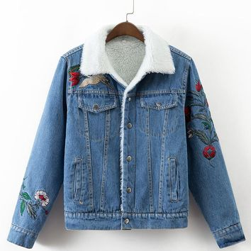 Women Denim Jacket  Embroidery