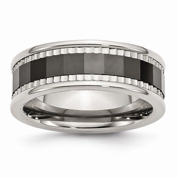 Men's Stainless Steel with Sawtooth Ceramic Center Faceted Wedding Band Ring