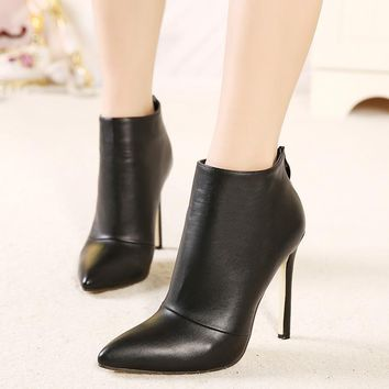 Ankle Boots Back Zipper Pointed Toe High Heel Shoes