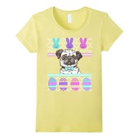 Ugly Easter Sweater Dog Pug Bunny Face Eggs T-Shirt