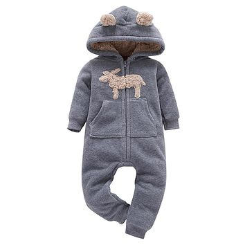 Infant Baby Boys Girls Thicker Print Hooded Romper Jumpsuit Outfit Kid Clothes