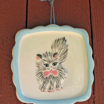 ON SALE Mint Condition ANTIQUE Mid Century Incredible Kawaii Ceramic Cat Obsession Wall Hanging Ala Dolores Umbridge In Order of the Phoen