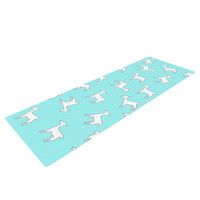 "Monika Strigel ""Baby Llama Multi"" Blue White Yoga Mat"