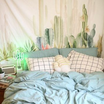 Cilected Cactus Plant Printed Tapestry Wall Hangings Boho Home Decor Wall Tapestry Indian Table Cloth Drop Shipping 148x200cm