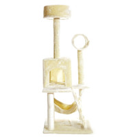"""PET PALACE 51"""" Cat Kitty Tree Scratcher Play House Condo Furniture Toy Bed Post House APL1064 Beige Medium '"""