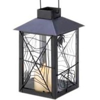 Black Spider Web Candle Lantern Gothic Halloween Decor