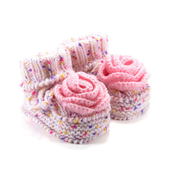 Knitted Baby Booties with Crochet Flower, Knit Baby Shoes, Baby Girl Boots - Pink, 6 - 12 months