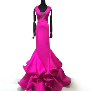 Hollow Out Mermaid Evening Dress Homecoming Dresses Rose Red Satin Ruffles Prom Dress V-neck Sleeveless