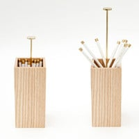 Ash and Brass Pencil Cup