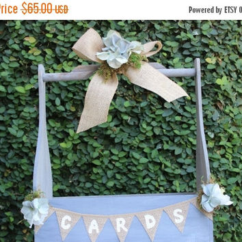 ON SALE Rustic Wedding Card Box  / Wedding  Favor or Program Basket / Wedding Decor / Wooden Caddy Basket