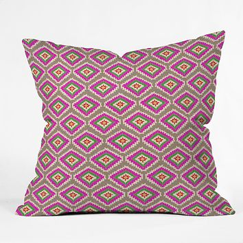 Bianca Green Aztec Fiber 4 Throw Pillow