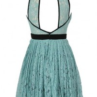 Classy Contrast A-Line Pleated Lace Dress in Mint - WHAT'S NEW