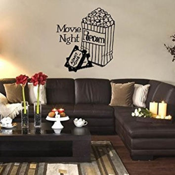 Movie Night with Popcorn and Tickets Vinyl Wall Words Decal Sticker Graphic