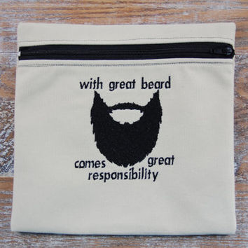 Hipster Beard Machine Embroidery Download File .pes .exp .dst . hus .jef .sew .vip .xxx Christmas Gift Beard Oil and Comb Bag