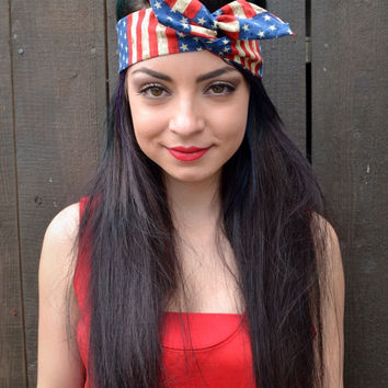 American Flag Rockabilly Headband #G1002