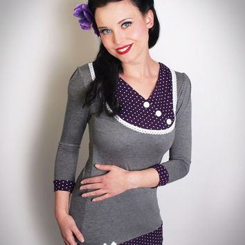 SOPHIE-02 grey/PURPLE Polkadot 3/4 Sleeves TENCEL Shirt