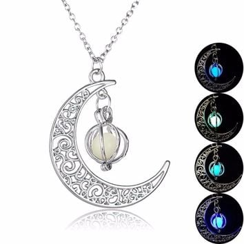 Glow In the dark Necklace Moon shape Hollow with ball Luminous  Necklace