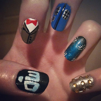 Doctor Who Inspired Nail Art - False Nail Set, Artificial, Acrylic, Fake, Hand Painted, Press On Nails