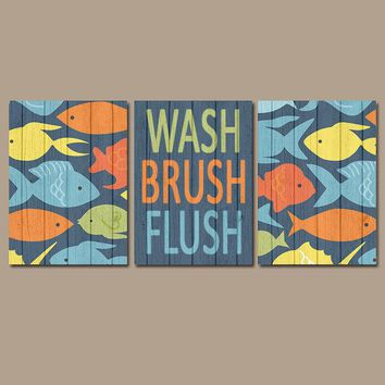 FISH Bathroom Decor  CANVAS or Prints Wood Effect Nautical Bathroom Pictures, Wash Brush Flush OCEAN Bathroom Rules Decor Set of 3 Decor
