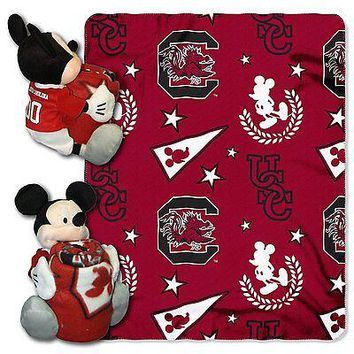 South Carolina Gamecocks NCAA Mickey Mouse Throw and Hugger Pillow Set