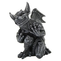 Gargoyle with Whimsy Sinister Grin Kneeling Figurine Statue 5 3/8H
