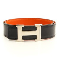 AUTHENTIC HERMES CONSTANCE LEATHER H BELT D BLACK ORANGE GRADE A USED -AT*
