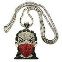 Iced Out Silver with Red Boondocks Pendant with a 36 Inch Franco Chain Necklace