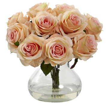 Artificial Flowers -White Rose Arrangement With Vase Silk Flowers