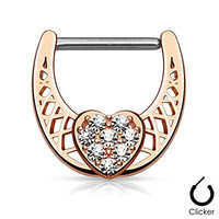 """Pair Body Jewelry 14ga (1.6mm) 1/2""""(12mm) Nipple Bar Clicker Ring or Barbell CZ Paved Heart Rose Gold over 316l Surgical Steel"""