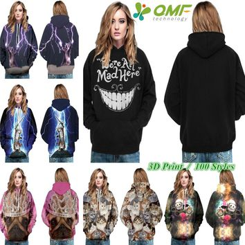 We Are All Mad Here Pullover White Big Smile Cheshire Cat Skateboard Sweatshirt Autumn Long Sleeve Hoody Hoodies Women Black