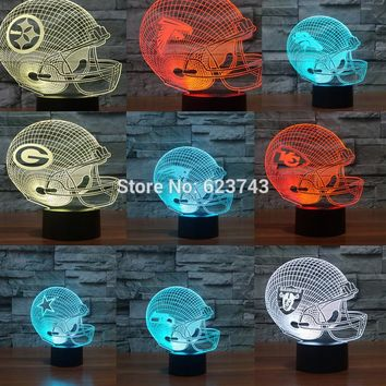 Football  helmet 3D LED Color Changing night light of All NFL Teams