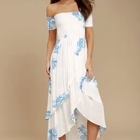 Lucy Love Barefoot White Print Off-the-Shoulder High-Low Dress