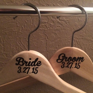 Wedding  party hangers, wooden wedding hangers, bridal party hangers, personalized hangers, bridal party gift ideas, custom wedding