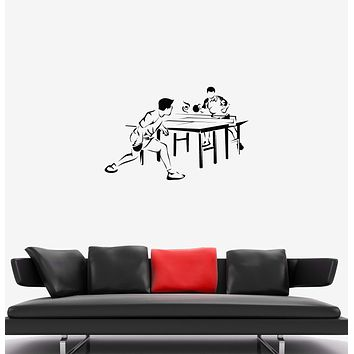 Wall Decal Table Tennis Game Sports Competitions Players Vinyl Sticker Unique Gift (ed777)