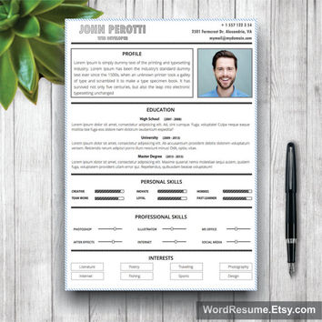 Resume Template / CV Template - The John Perotti Resume Design - Instant Download - Word Document / Docx / Doc Format