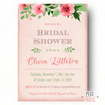 Shabby Chic Bridal Shower Invitations // Floral Bridal Shower Invitation // Printable Bridal Shower Invite // Vintage Rose Pink Background