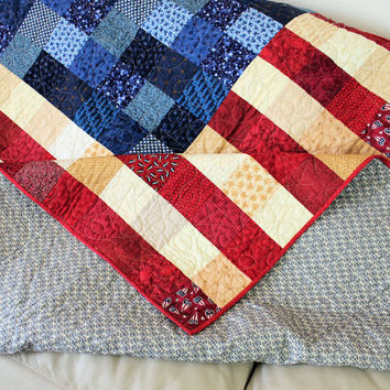 Patriotic Throw - Large Lap Quilt - Wall Hanging - MADE TO ORDER
