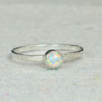 Small Silver Opal Ring, Sterling Opal Ring, White Opal Ring, Mothers Ring, Opal Jewelry, Stacking Ring, October Birthstone Ring
